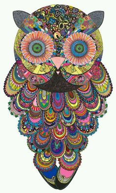 seek peace and balance - misscannabliss: Ellie Psychedelic Owl Art by...