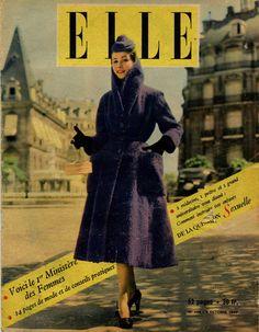 Elle n°254 du 9 octobre 1950, redingote de Christian Dior, photo Jean Chevalier