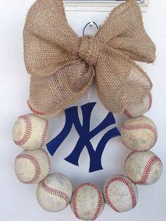 New York Yankees Burlap Baseball Wreath by NTgoodthings on Etsy, $48.00