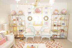 Home-Styling with twin ikea shelving units spray painted gold - combined with pink
