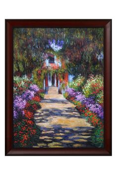 Claude Monet Garden Path at Giverny Framed Hand Painted Oil on Canvas