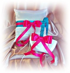 Turquoise and hot pink fuchsia weddings ring pillow and basket