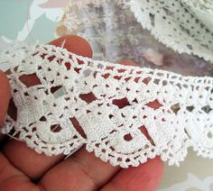 Crochet lace trimhandmade crocheted cotton by boutiqueseragun