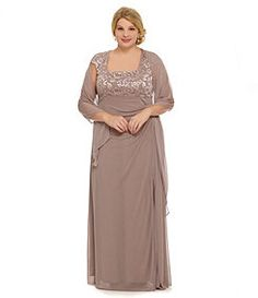 Alex Evenings Woman Beaded Empire Gown for the Mother of the Bride..available in plus sizes