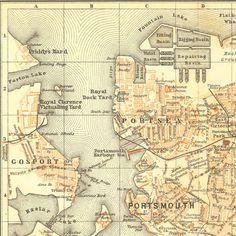 1907 Portsmouth Original Antique Map, Street Plan, Baedeker, City Plan England United Kingdom