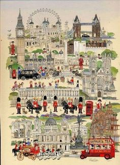 """No, Sir, when a man is tired of London, he is tired of life; for there is in London all that life can afford."" ~Samuel Johnson, Illustration by Diane Elson. London England, England Uk, Voyage Sketchbook, Travel Illustration, London Illustration, Thinking Day, England And Scotland, London Art, London Calling"