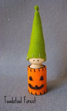 Waldorf Inspired Jack O Lantern Gnome Peg Doll ~ Pumpkin Peg Doll ~ Trick or Treater on Etsy, $10.00