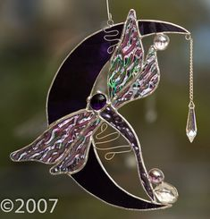 Stained Glass Dragonfly on the Moon by FunkyWindowGlass on Etsy, $43.00  ☮ღツ