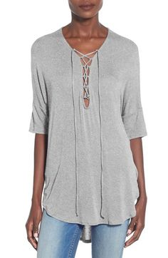 gray tie up jersey knit top under $40