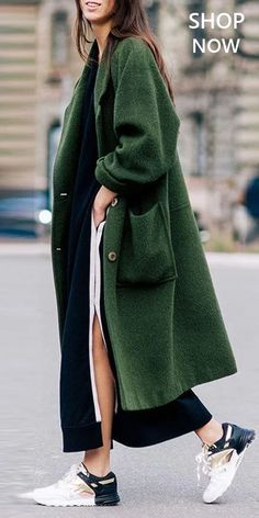 Pure Color Coats Women plain woolen coat warm outerwear, the best choice for winter, worldwide free Outfit Essentials, Mode Outfits, Fall Outfits, Coats For Women, Clothes For Women, Sneakers Street Style, Green Coat, Pret A Porter Feminin, Look At You