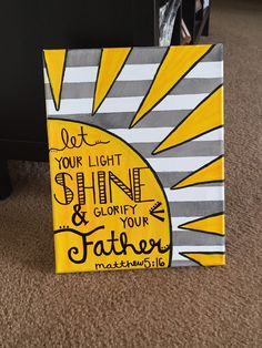 Matthew canvas by CanvasCats on Etsy… Canvas Crafts, Diy Canvas, Canvas Art, Canvas Ideas, Canvas Paintings, Scripture Canvas, Scripture Mastery, Let Your Light Shine, Canvas Quotes