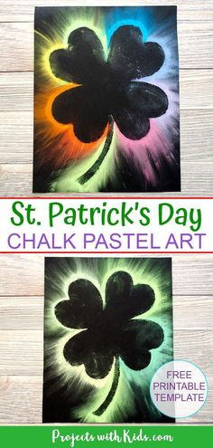 This shamrock art is beautiful and so fun for kids to make Kids will love using this easy chalk pastel technique to create a brightly colored St Patrick s Day craft Free shamrock template included projectswithkids stpatricksdaycraft rainbowcraft - Saint Patricks Day Art, St Patricks Day Crafts For Kids, March Crafts, St Patrick's Day Crafts, Chalk Pastel Art, Chalk Pastels, Chalk Art, Shamrock Template, Saint Patrick's Day
