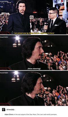 Adam Driver dropping his jaw at Star Wars fan excited to see him