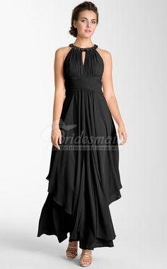 A Line Black Satin Chiffon Pretty Plus Size Bridesmaid Dresses(PSDBB029)