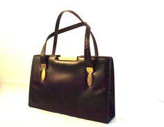 Vintage black leather bag. Black Leather Bags, Vintage Black, Boat, Hair, Etsy, Style, Black Leather Handbags, Swag, Dinghy