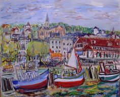 Landscape Paintings by French Artist Maurice Empi Spanish Artists, French Artists, Figure Painting, Contemporary Artists, Art History, Landscape Paintings, Boats, Cities, Ships