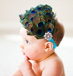 Peacock Feather Bling Hair Bow | Baby Boutique | Peacock Feather Bling Hair Bow