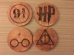Harry Potter symboles carreaux en bois