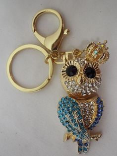 $9.99 Wise Crown Owl  Purse Charm Key Ring Blue Sparkling Crystals  | eBay