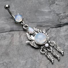 Vintage Floral filigrane Opalite Stein Bauchnabel Ring