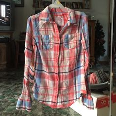 Flannel!! Beautiful colored flannel! Super comfy size xs! Has salmon color with some blue and hints of others! Adorable!! Tops