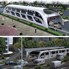 ایده جدید چینیها برای برطرف کردن مشکلات حمل و نقل عمومی باعث ایجاد یک سوپر اتوبوس تندرو شده است که مسافران را بالاتر از سطح خیابان جا بجا میکند و خودروها نیز از بین اتوبوس و زیر پای مسافران حرکت میکنند و بدین شکل ترافیک بوجود نمی آید.این اتوبوس با عرض شش متری قادر است با سرعت بیش از شصت کیلومتر در ساعت حرکت کند و هزار و دویست تا هزار و چهارصد نفر مسافر را در هر سفر انتقال دهد و همچون مترو با شبکه برق شهری کار میکند و سلولهای خورشیدی روی سقف بخش دیگری از انرژی مورد نیازش را تأمین مینماید