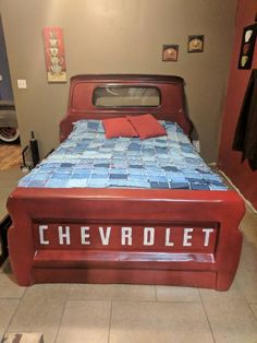 Awesome truck bed queen full or twin Garage Furniture, Car Part Furniture, Automotive Furniture, Automotive Decor, Kids Furniture, Bedroom Furniture, Bedroom Decor, Modern Furniture, Furniture Design