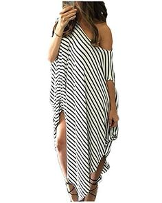 Kidsform Women Maxi Dress Striped Irregular Long Dresses Casual Loose  Kaftan Round Neck Sundress eb1c14b08