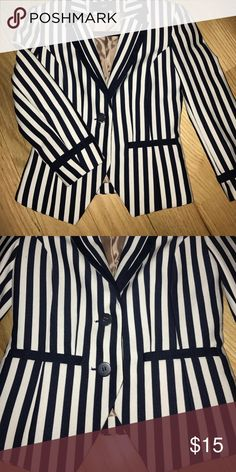 H&M Navy & White Pinstripe Slim Fit Blazer Although the photo looks black and white, it's actually navy! Light shoulder padding, tailored fit, double button, tapered bottom. H&M Jackets & Coats Blazers