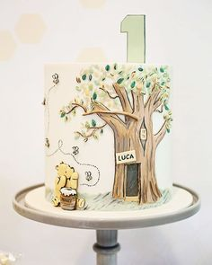 The most incredible 1st birthday cake I ever did see! I approached my talented friend Felicity of @sugarbeecakes to create a cake using a classic scene from Winnie the Pooh and well what else can I say but this is Unbeelievable!! Created using a combination of hand painting and sculptured fondant to make a 3D effect. Sitting pretty on our new grey milk glass cake pedestal. #winniethepooh #winniethepoohcake #cakeideas #cakeinspiration #birthdaycake #cakestandhire #desserttable #cakeoftheday