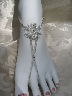Barefoot Sandals with Rhinestone Petal Flower Beach Wedding Barefoot Sandals Foot Jewelry