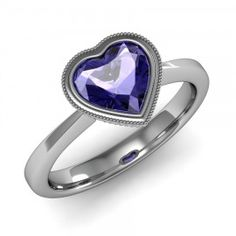 Heart Shape Tanzanite Ring set in 18K White Gold. (7x7mm)
