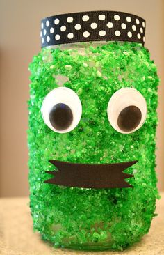 Not So Scary Green Monster Halloween Luminary...Halloween craft for kids