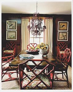 Dark Brown Walls: Painted Coral Chairs {Celerie Kemble} I love this palette Bamboo Chairs, Red Chairs, Bamboo Furniture, Dark Brown Walls, Chippendale Chairs, Dining Room Inspiration, Design Inspiration, Interior Styling, Interior Design