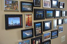 Cool way to display post cards from your travels. I'd include personal photos as well.