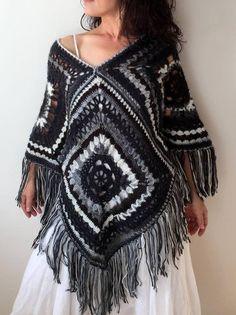 im going to make this Crochet Headband Pattern, Crochet Poncho Patterns, Crochet Shawl, Poncho Dress, Poncho Shawl, Hippie Bohemian, Boho, Granny Square Poncho, White Poncho