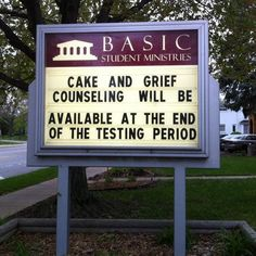 Cake and grief counseling… wish they did this after our exams