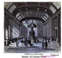 Interior of Custom House, London, UK.                                              From:  1854 Pictorial History of London.                via Google Books (PD200)           suzilove.com