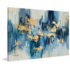 This Hints of Gold Foiled Canvas Art Print features an abstract paint stroke print in hues of blue and white Its pops of gold give it a shimmery touch. Blue Canvas Art, Gold Canvas, Blue Art, Abstract Canvas, Canvas Art Prints, Painting Prints, Canvas Wall Art, Acrylic Canvas, Abstract Art Blue