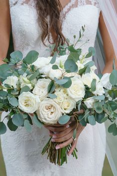 White bouquet and greenery Lanier Islands Wedding Flowers by Design House Weddings Atlanta, GA