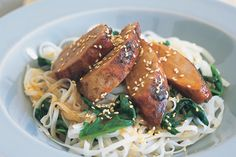 The pork is roasted and infused with the flavour of Chinese five spice, honey and finished with toasted sesame seeds.