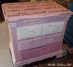 "Pink ombre night stand with white pink and black. Uplifting message across the top says, ""she dared to dream bigger and bolder than anyone around her and the world responded."". Side table furniture redo makeover painted by Noelle Rollins Art"