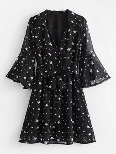 Star Print Flounce Sleeve Self Tie DressFor Women-romwe Ruffle Sleeve Dress, Tie Dress, Necklines For Dresses, Dresses With Sleeves, Chiffon Dresses, Shift Dresses, Sleeve Dresses, Fall Dresses, Long Dresses