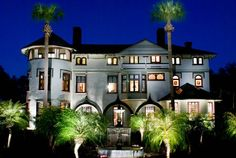 Stetson Mansion is beautiful at night.  @tourthemansion  Florida's 1st luxury estate!