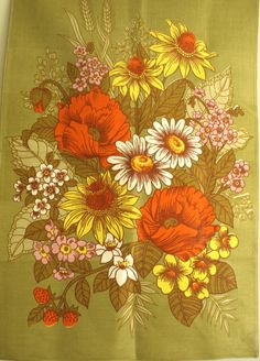 Blossom Poppies Daisies Floral Tea Towel  Kitsch 70s by FunkyKoala