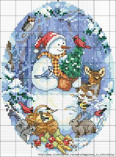 cross stitch christmas snowman and deer