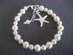 Bridesmaid Bracelet,Starfish Bracelet,Starfish Charm, Pearl Starfish Bracelet, Beach Nautical Wedding, Pearl Bracelet,Swarovski Pearls by Uniquebeadables on Etsy