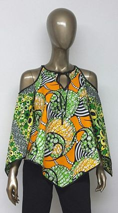 African Print Top. Ankara Top. Bell Sleeves. by NanayahStudio