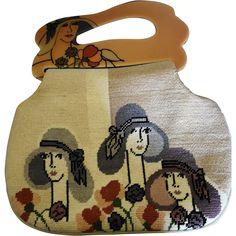 Patricia Smith Moon Bags 1980 Hand-Painted Gatsby Girls Purse/Handbag
