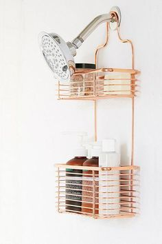 Urban Outfitters Minimal Rose Gold Shower Caddy - For the one who rose gold bathroom decor - Bathroom Decoration Gold Bad, Gold Shower, Shower Rose, Bath Shower, Bad Inspiration, Furniture Inspiration, Bathroom Inspiration, Shower Curtain Hooks, Shower Curtains